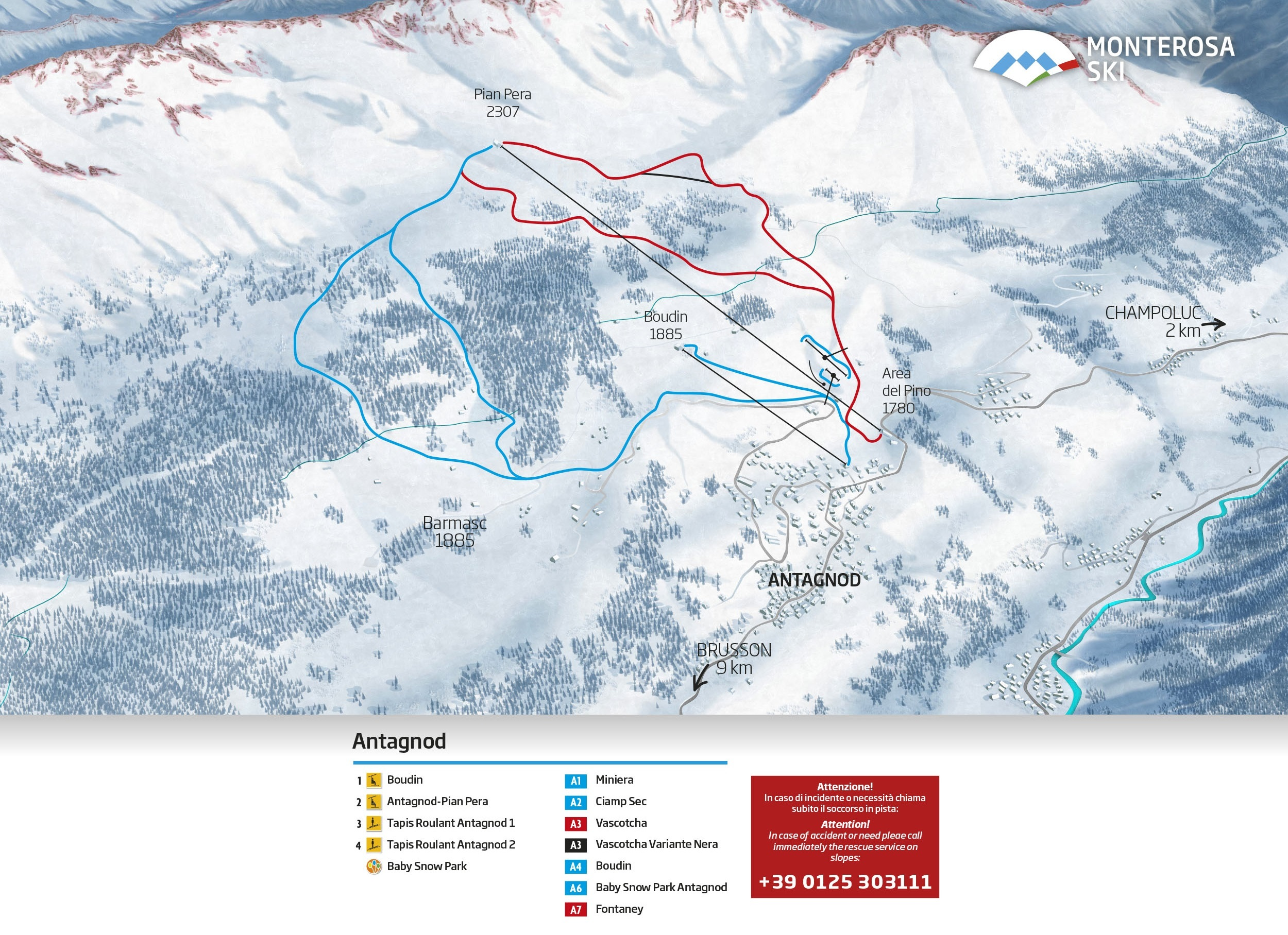 Antagnod Trail Map | OnTheSnow on