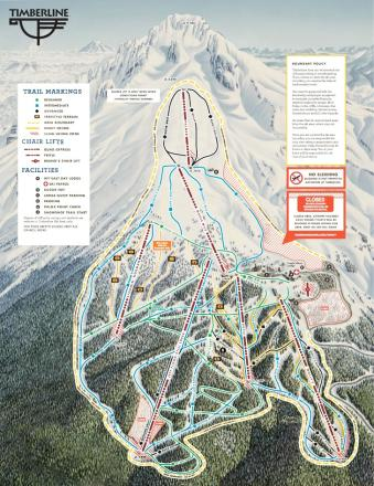Timberline Lodge Plan des pistes