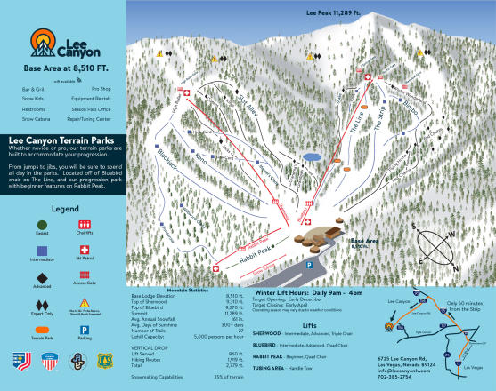 Lee Canyon Plan des pistes