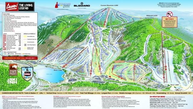 Cannon Mountain Mapa tras