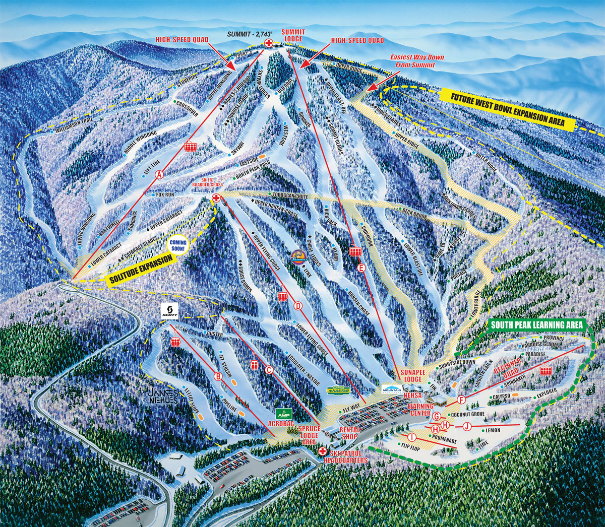 Ski New England Map.Mount Sunapee Trail Map Onthesnow