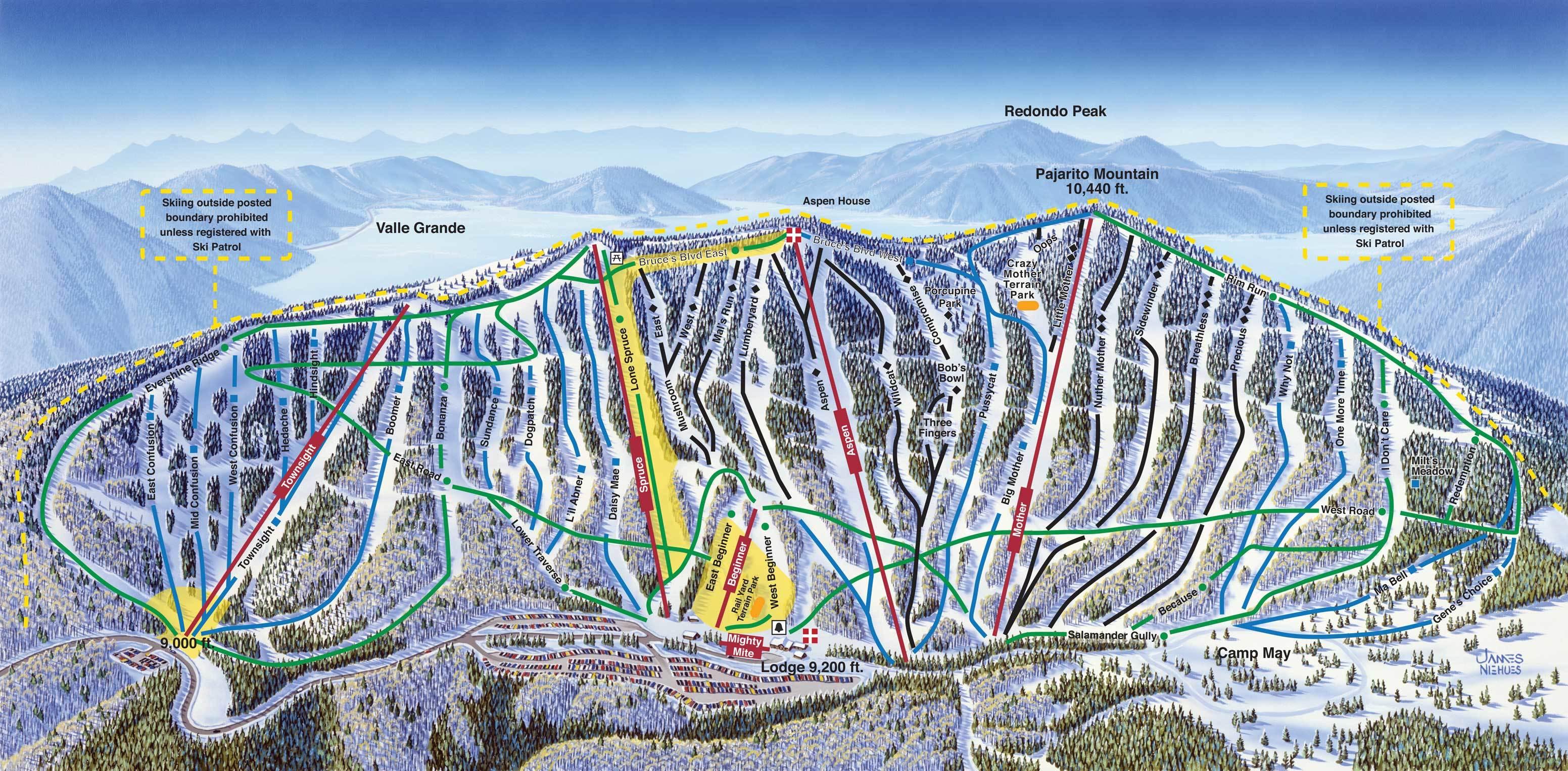 Ski In New Mexico Map.Pajarito Mountain Ski Area Trail Map Onthesnow