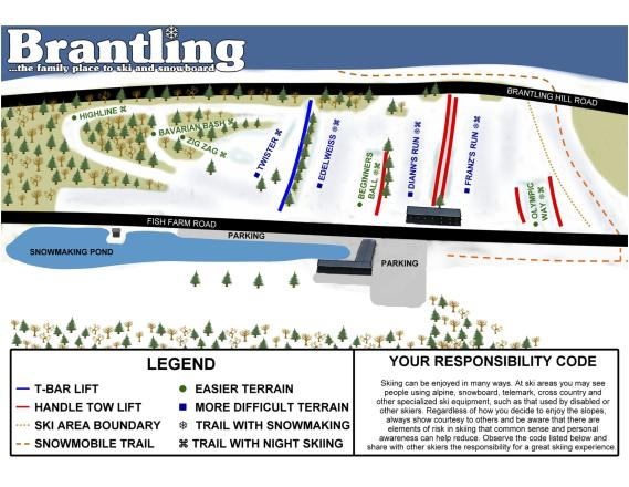 Brantling Ski Slopes Trail Map