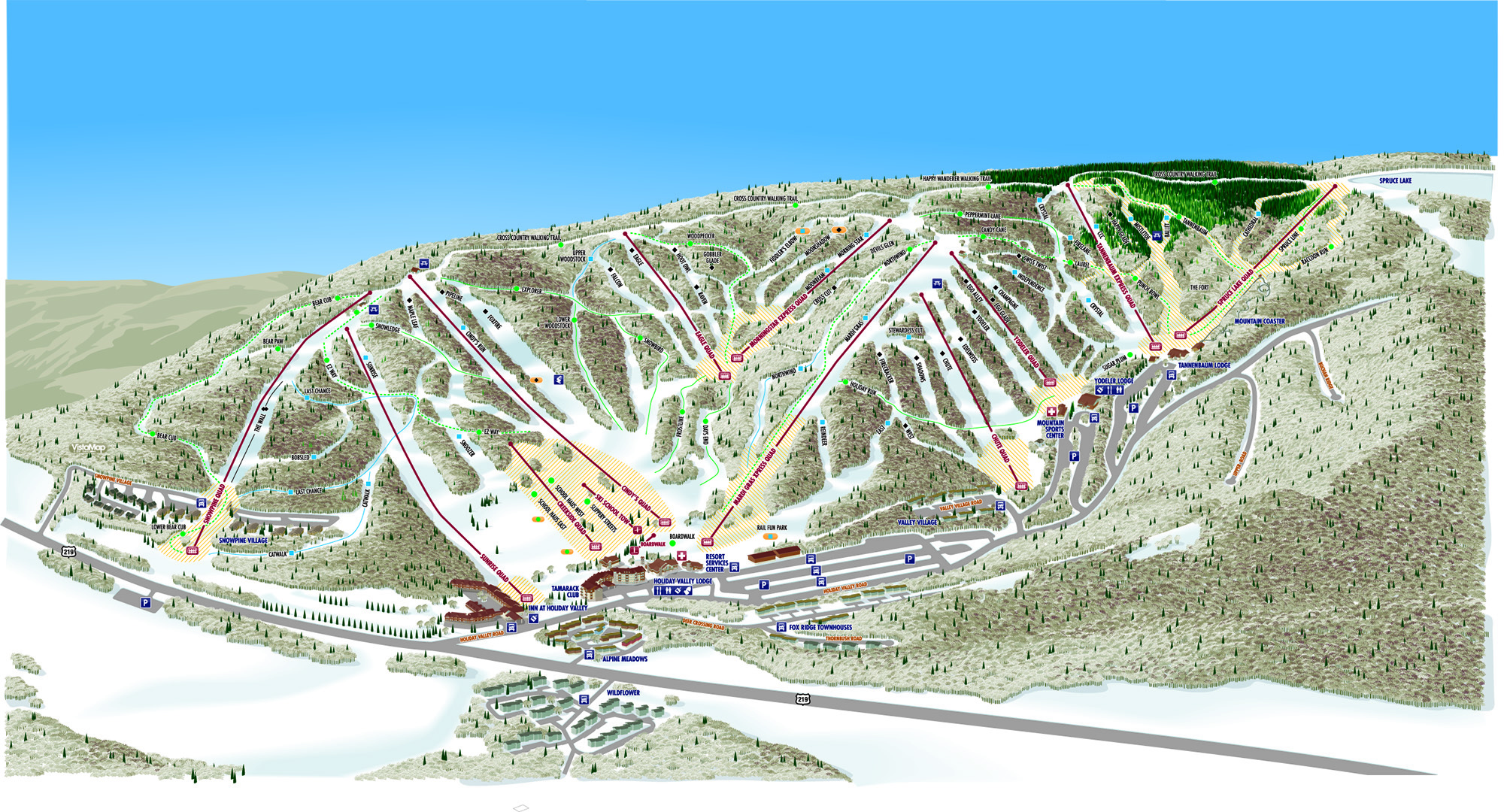 Holiday Valley Trail Map | OnTheSnow