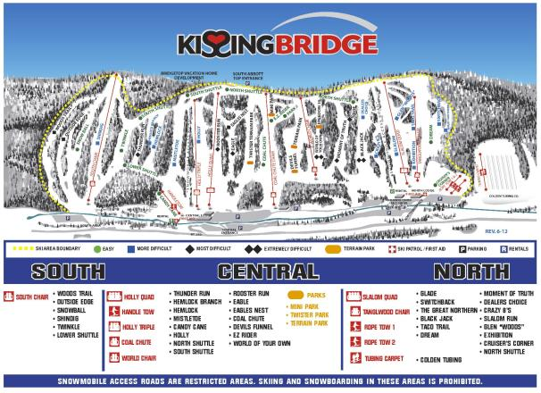 kissing bridge learn to ski