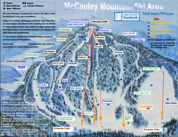 McCauley Mountain Ski Center Plan des pistes