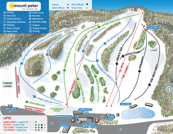 Mount Peter Ski Area Trail Map