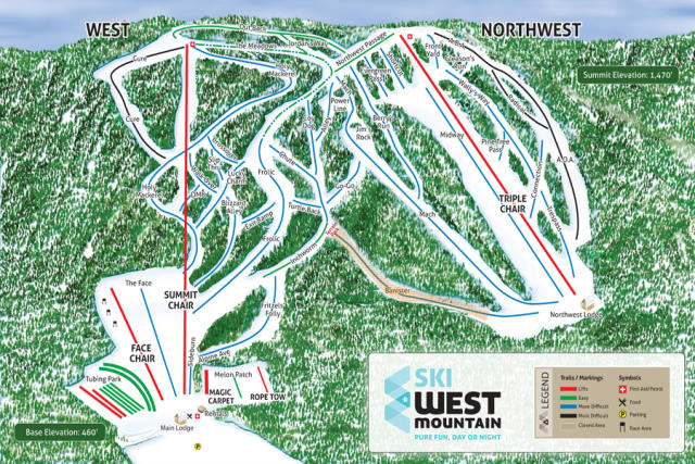 West Mountain Plan des pistes
