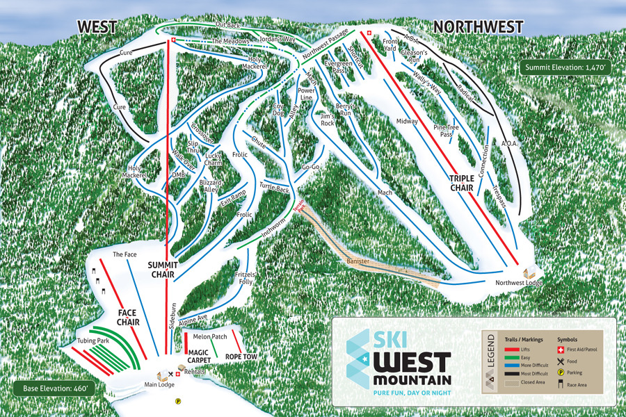 West Mountain Trail Map - Western us ski resorts map