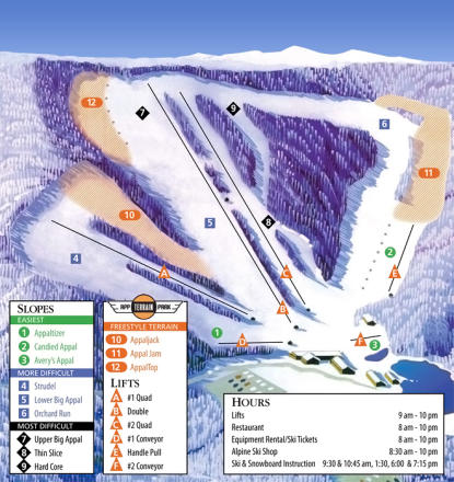Appalachian Ski Mountain Løypekart