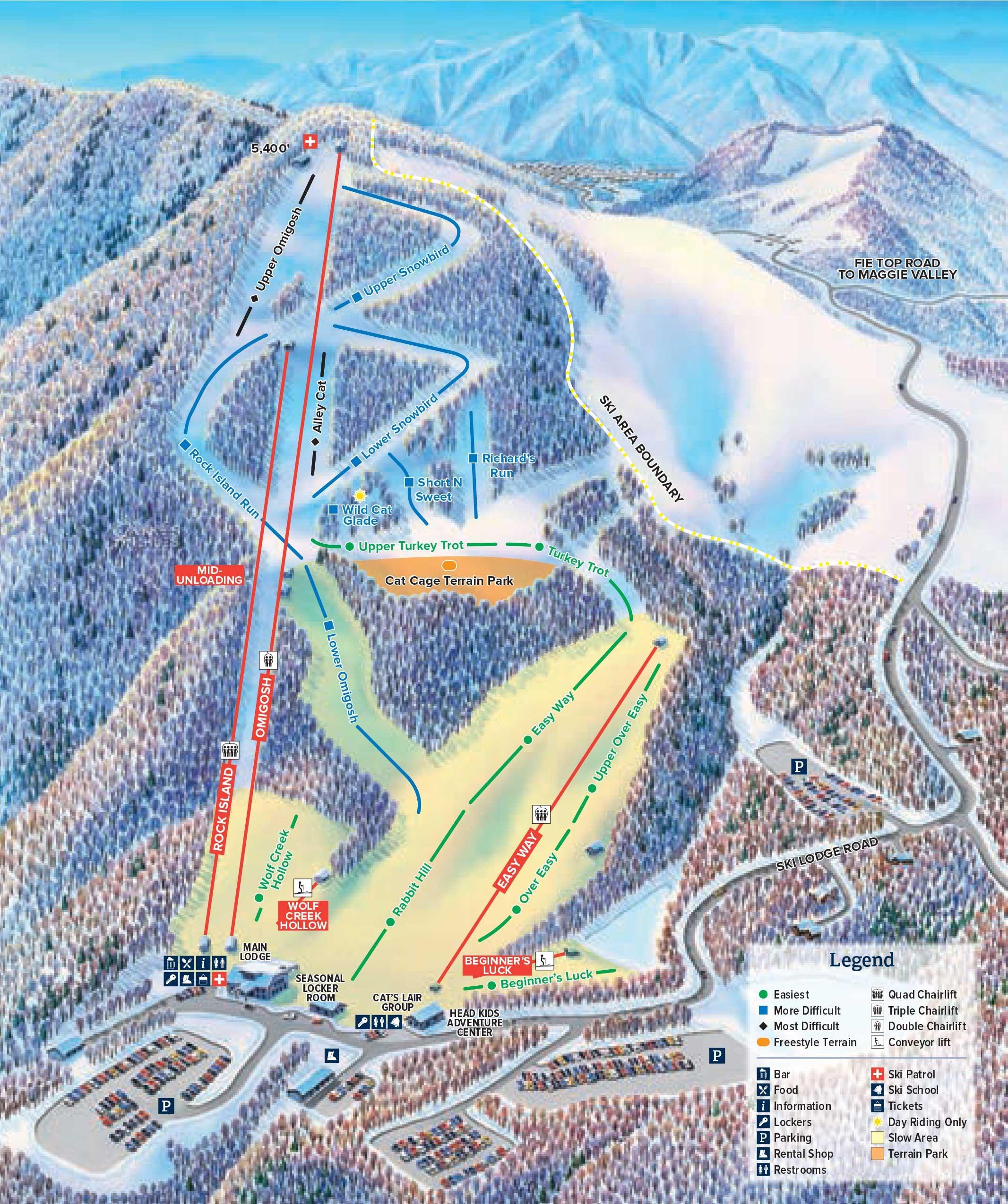 Cataloochee Ski Area Trail Map