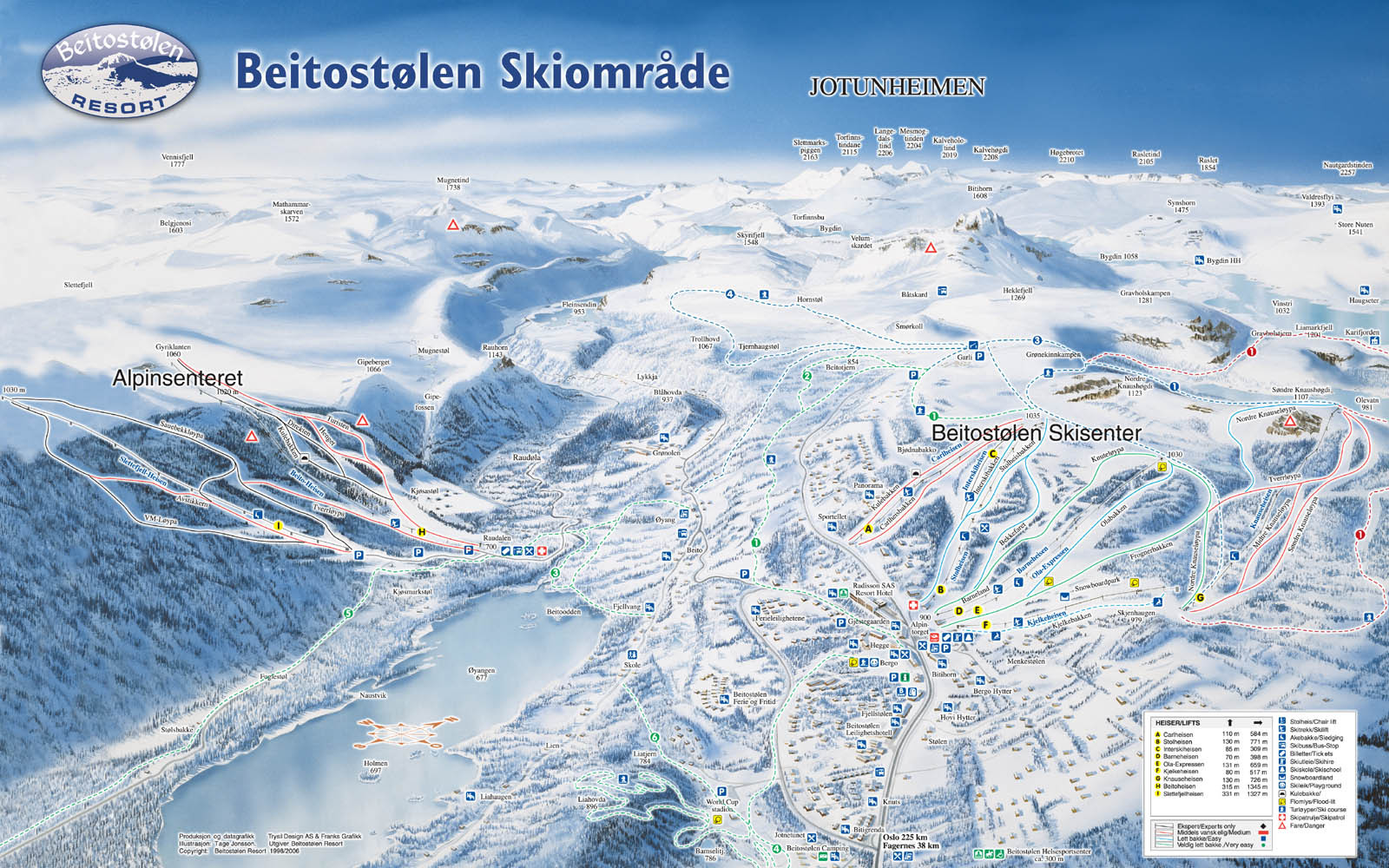 Beitostølen Piste Map Plan Of Ski Slopes And Lifts OnTheSnow - Norway valdres map