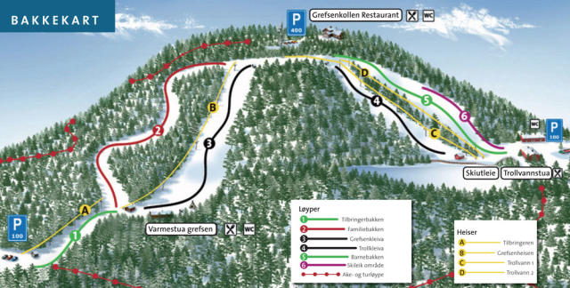Oslo Skisenter/Grefsen Trail Map