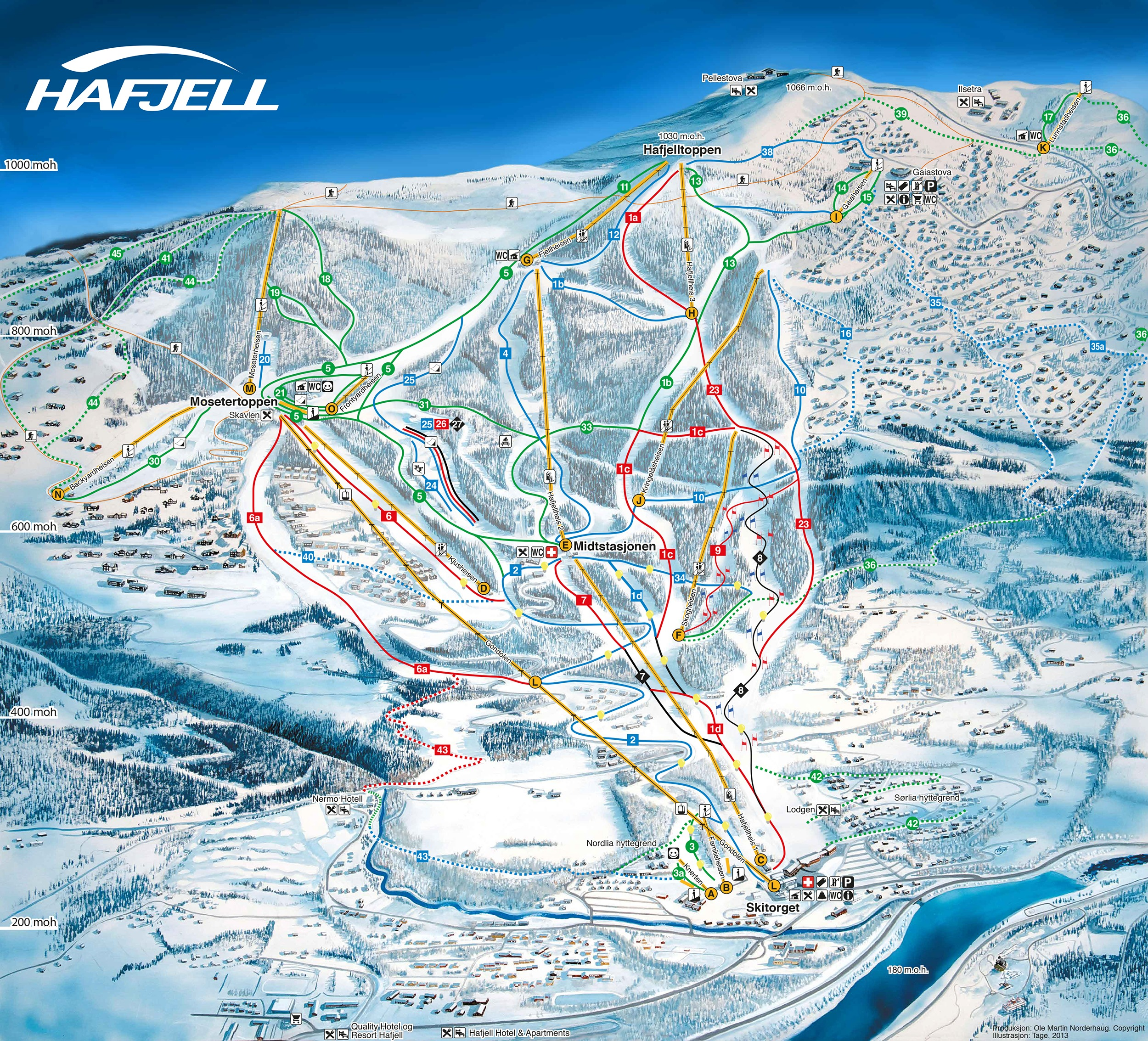 Hafjell Piste Map Plan of ski slopes and lifts OnTheSnow