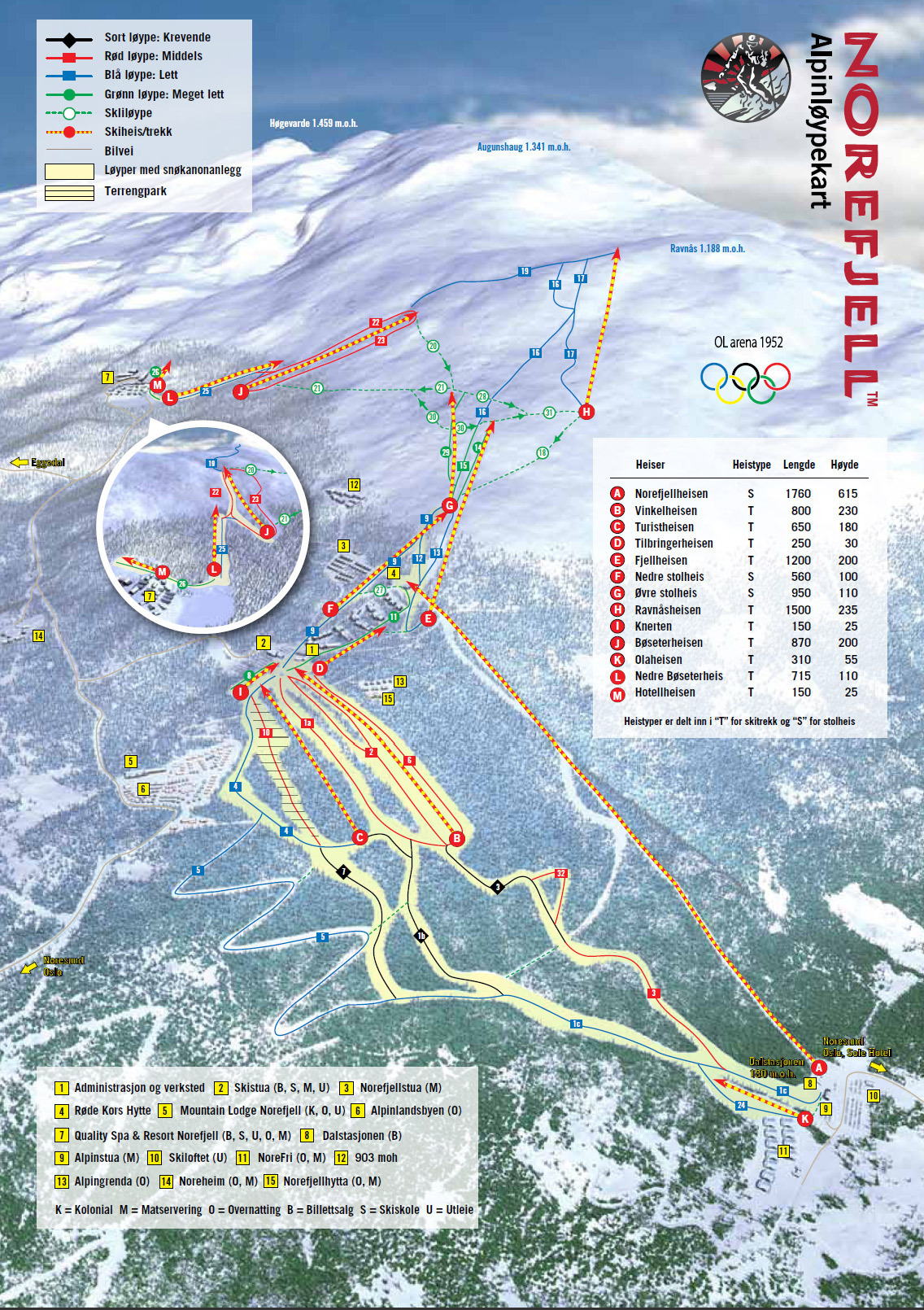 kart norefjell Skikart og løypekart for Norefjell   Skiinfo.no kart norefjell