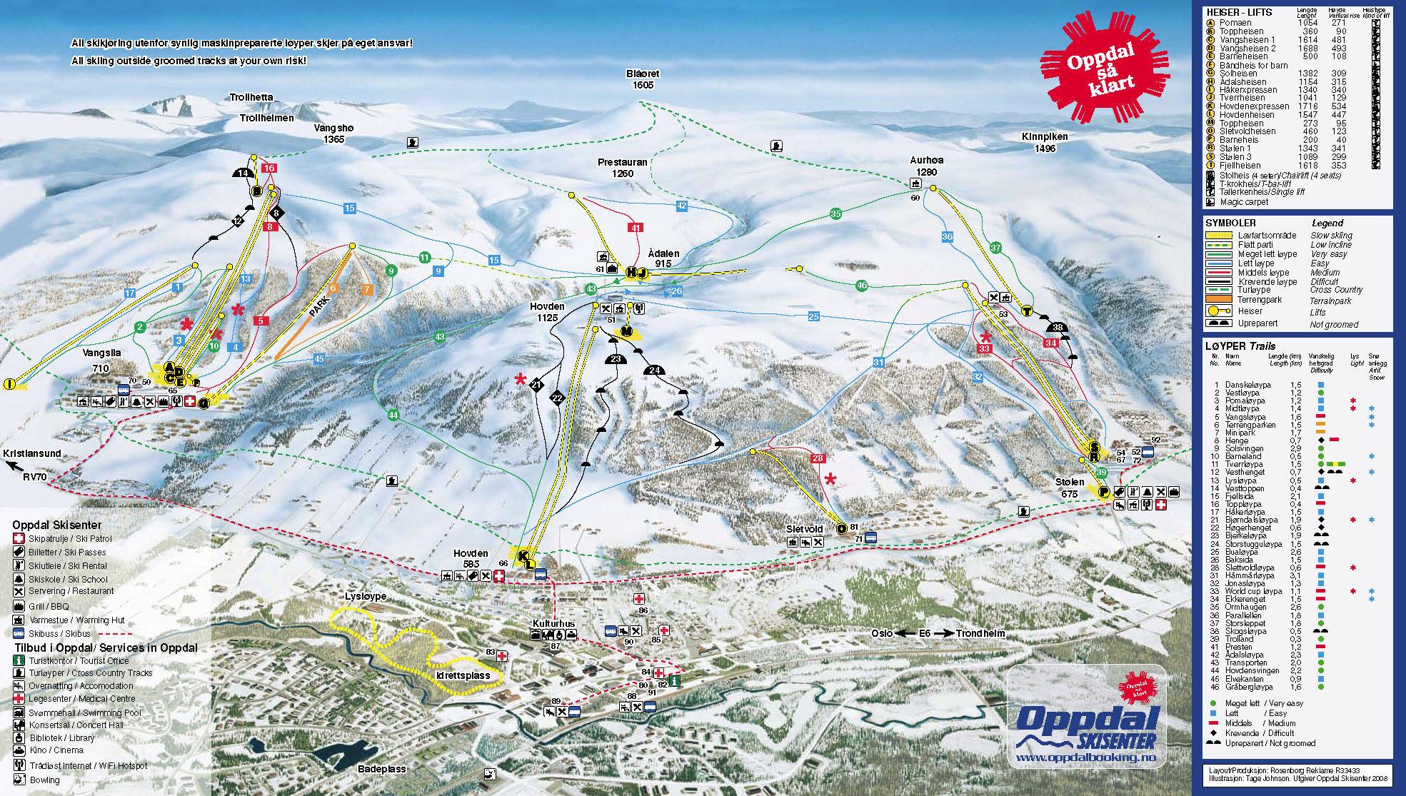kart oppdal Skikart og løypekart for Oppdal   Skiinfo.no kart oppdal