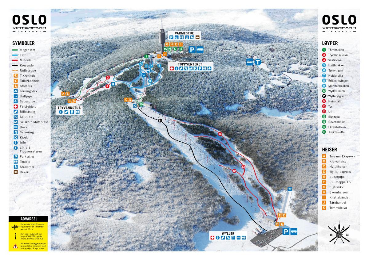 Oslo Vinterpark Tryvann Trail Map