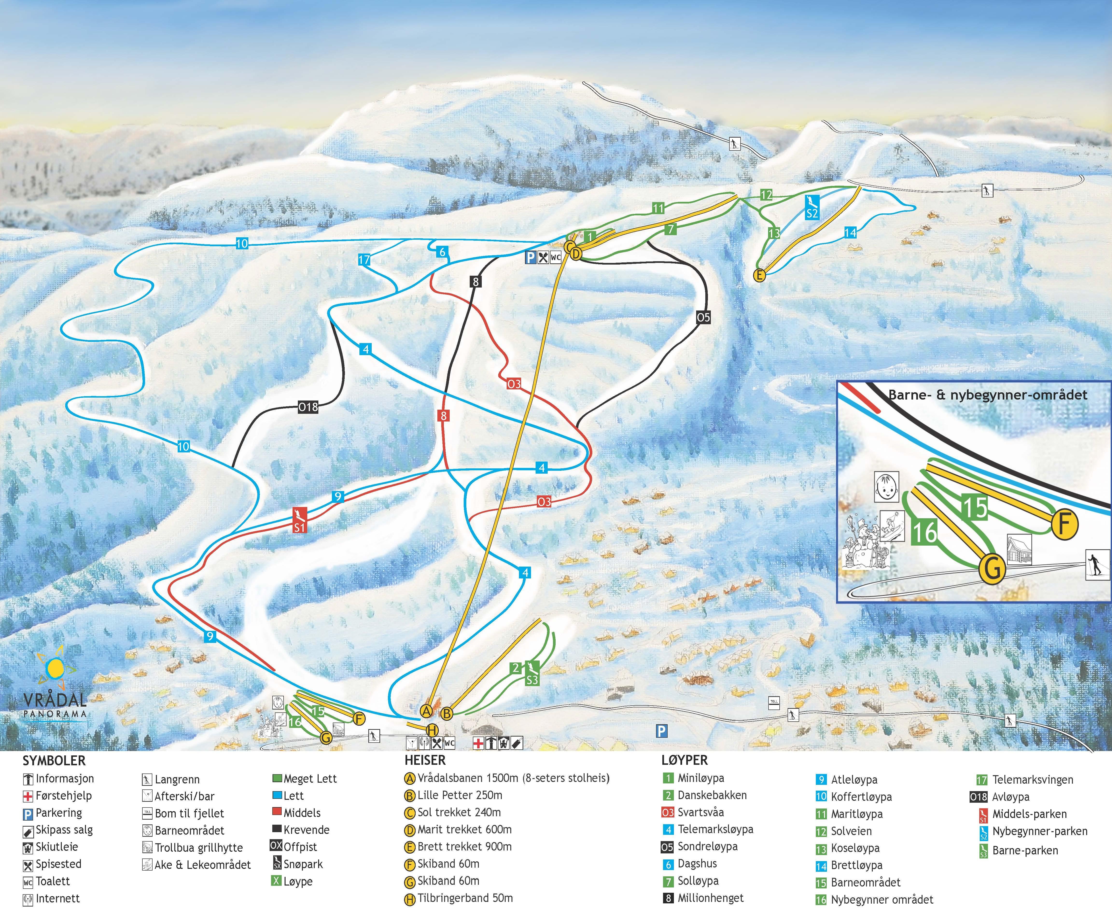vrådal kart Skikart og løypekart for Vrådal   Skiinfo.no vrådal kart