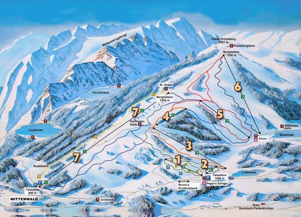 Kranzberg - Mittenwald Mappa piste