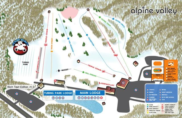 Alpine Valley Mappa piste