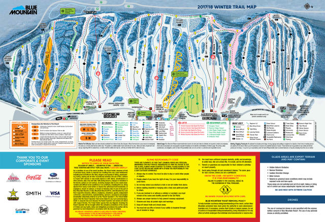 Map Of Ski Resorts In Ontario Canada Blue Mountain Trail Map | OnTheSnow