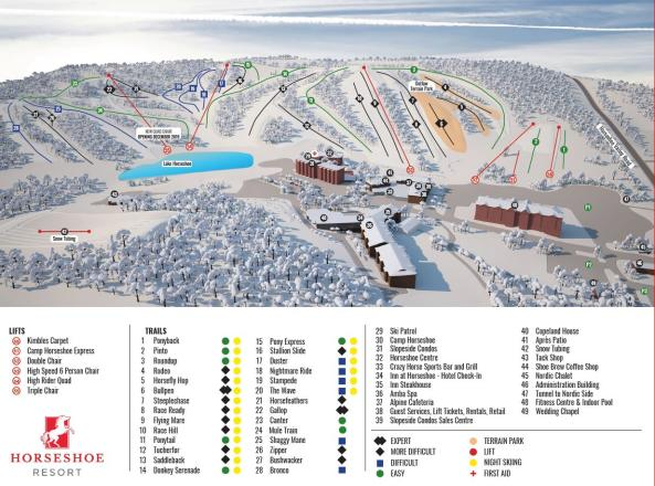 Horseshoe Resort Plan des pistes