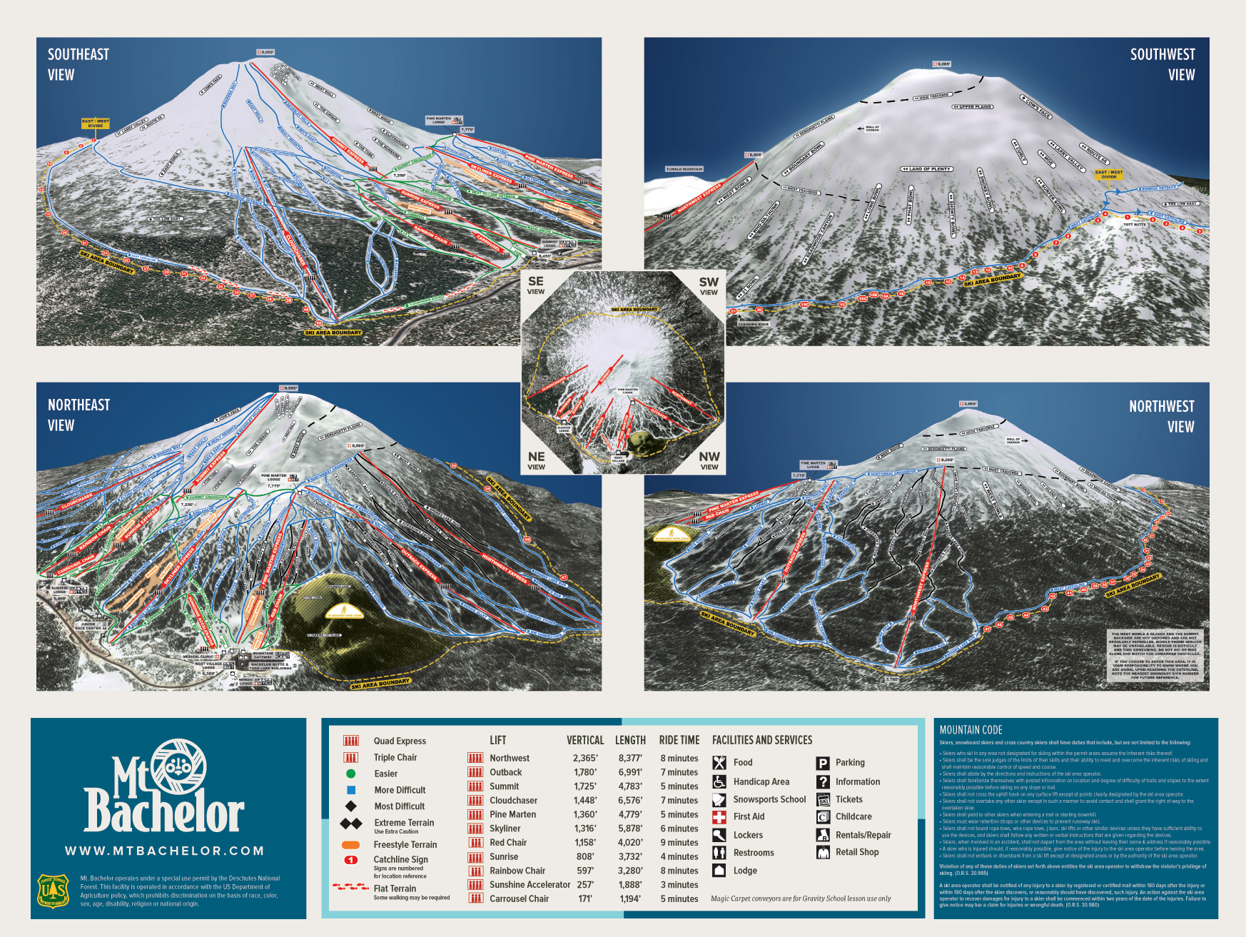 Mt Bachelor Trail Map Onthesnow