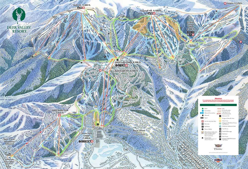 Deer Valley Map Deer Valley Resort Trail Map | OnTheSnow