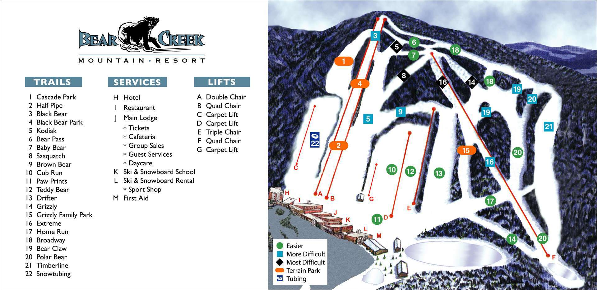 bear creek mountain resort trail map | onthesnow