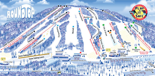 Roundtop Mountain Resort Trail Map
