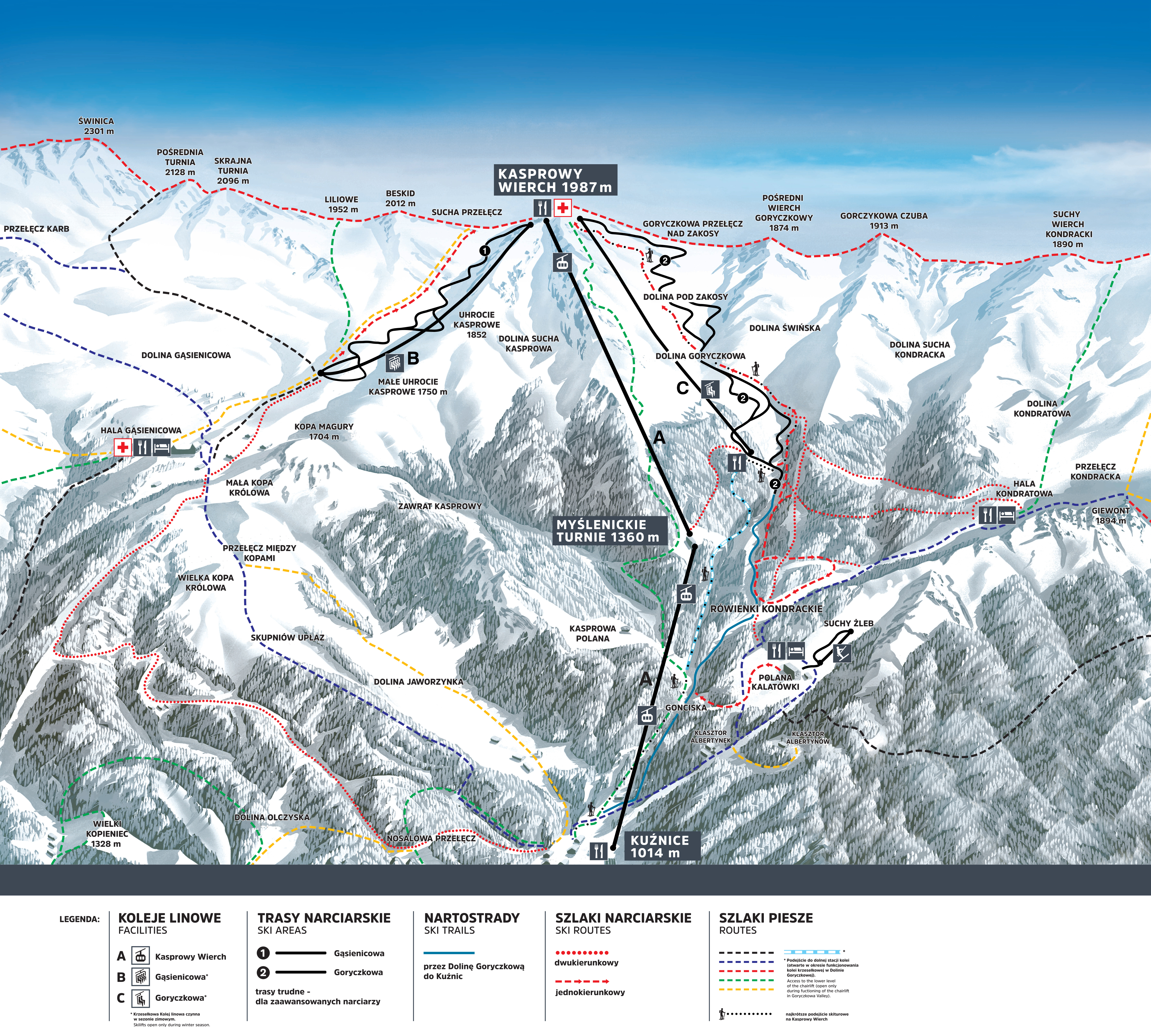 Zakopane Kasprowy Wierch Piste Map Plan Of Ski Slopes And Lifts