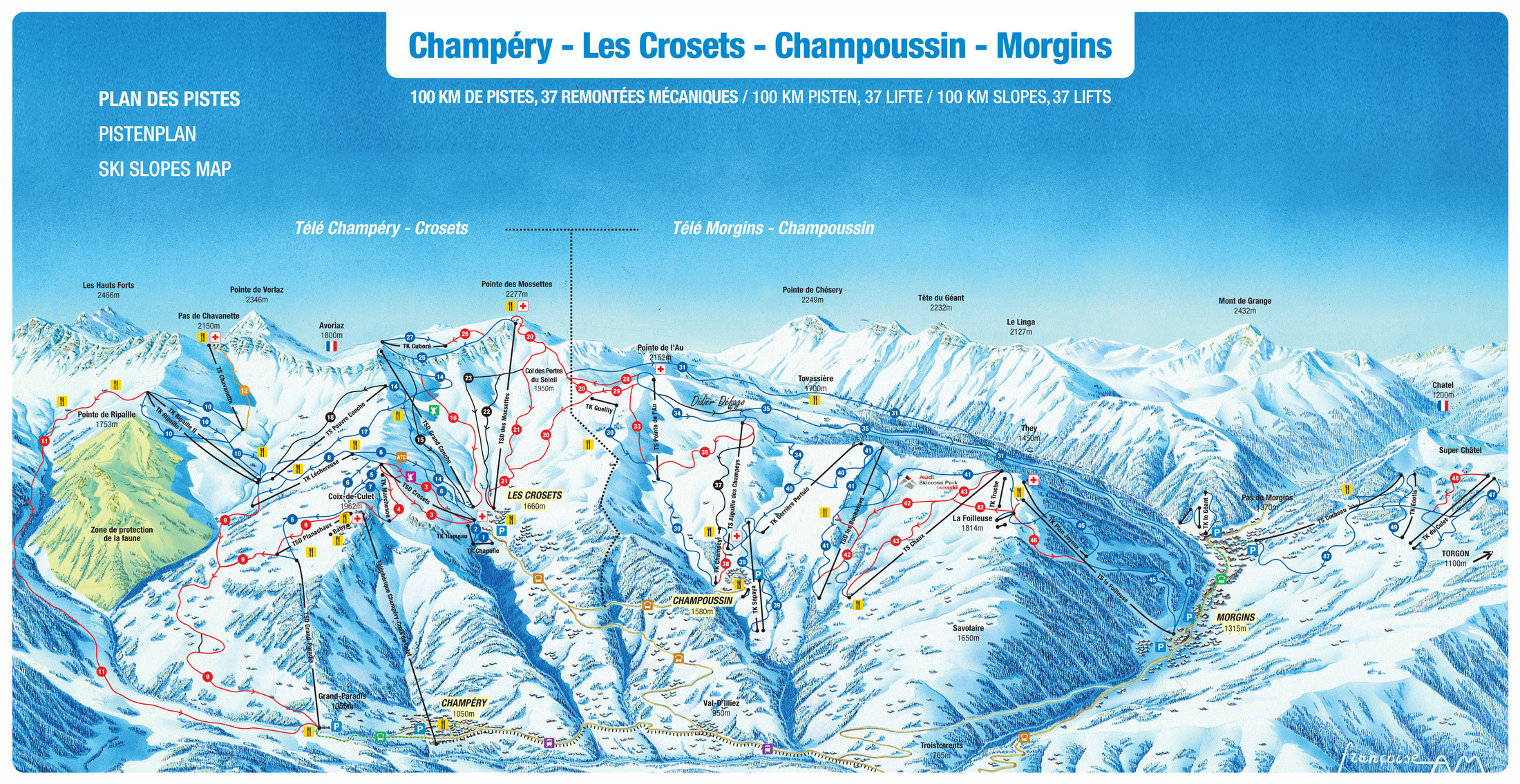 les crosets piste map plan of ski slopes and lifts onthesnow. Black Bedroom Furniture Sets. Home Design Ideas