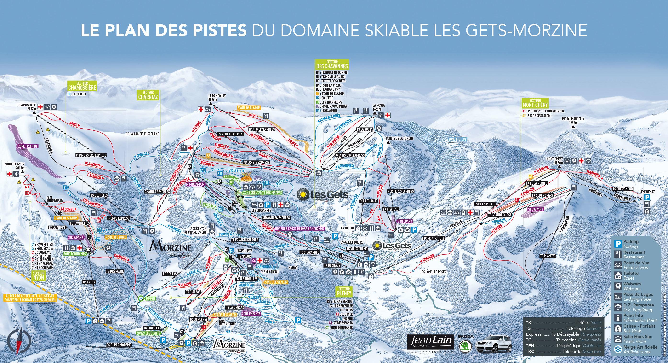 Les gets piste map plan of ski slopes and lifts onthesnow - Plan piste porte du soleil ...