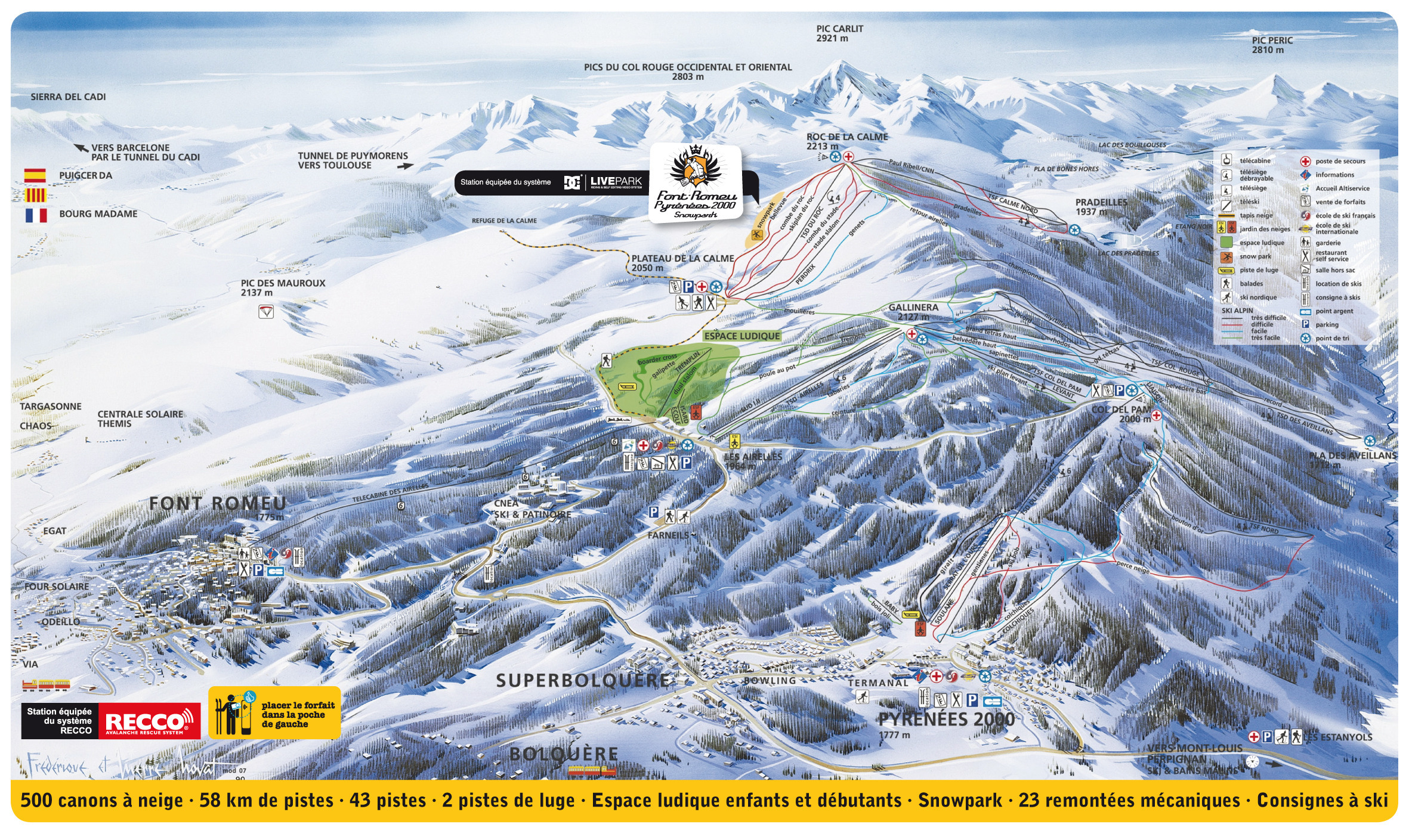 Font romeu pyrenees 2000 piste map plan of ski slopes for Piste de ski interieur