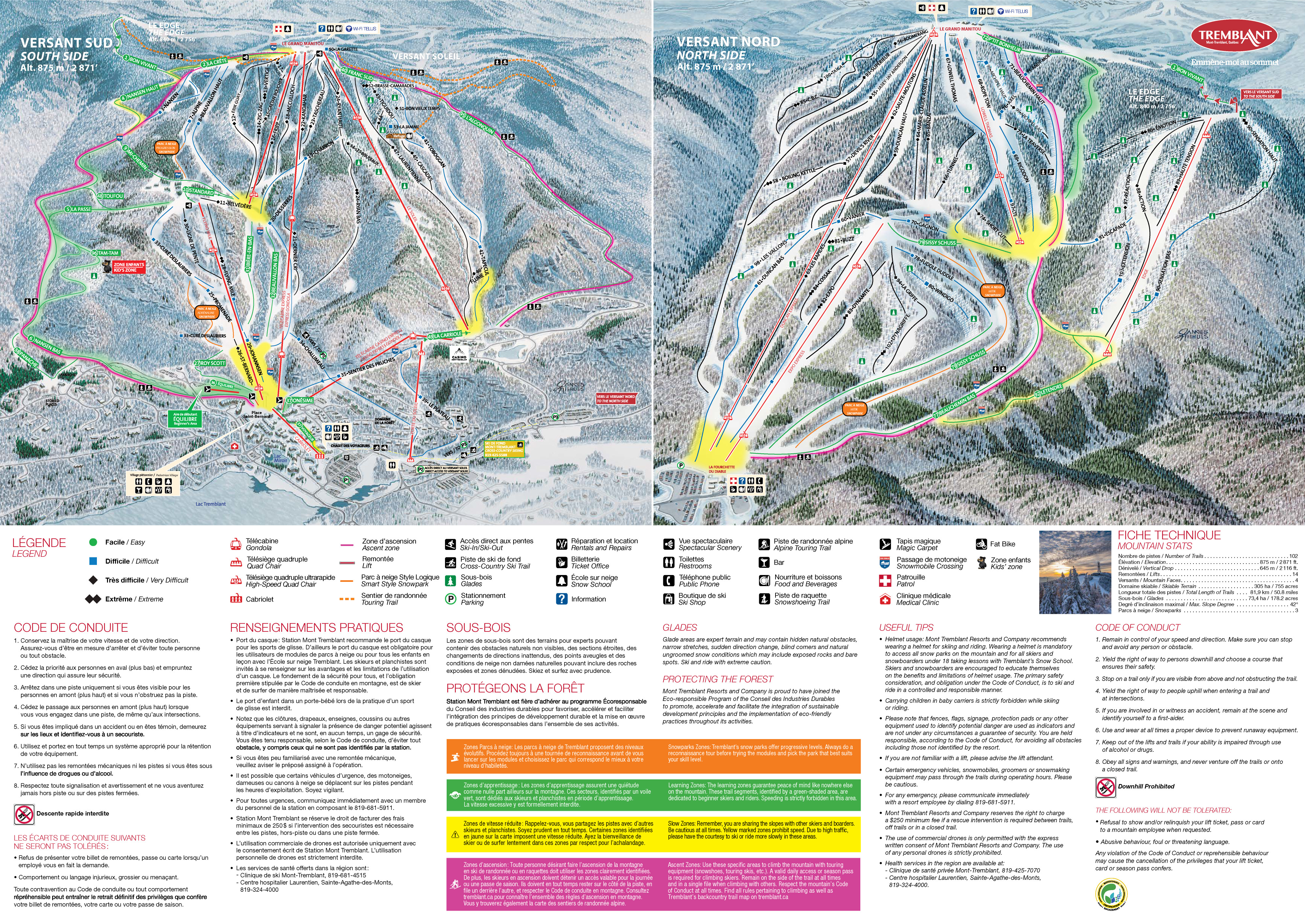 Map Of Tremblant Canada Tremblant Trail Map | OnTheSnow