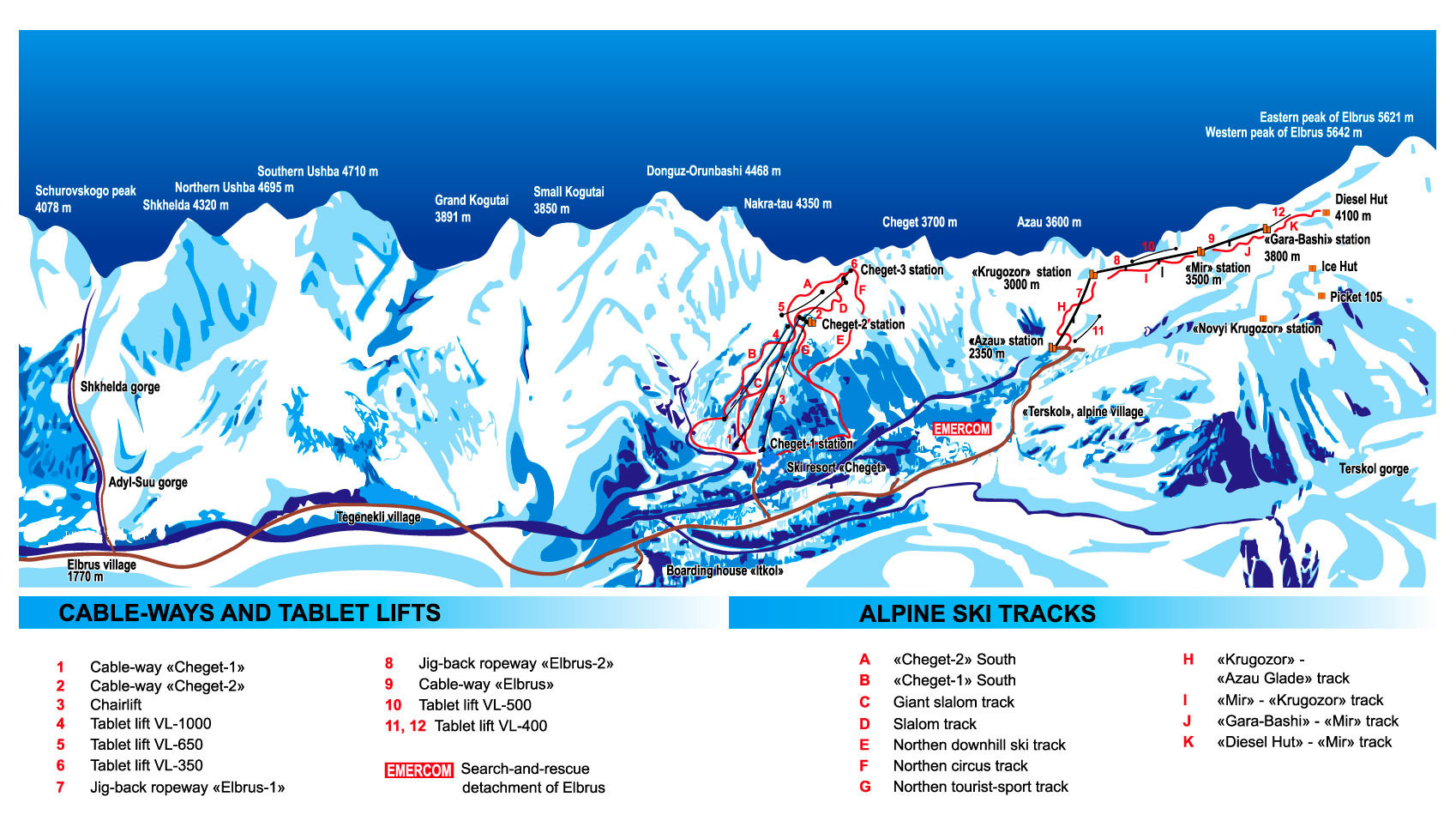 Mt Elbrus Trail Map - Mt elbrus map
