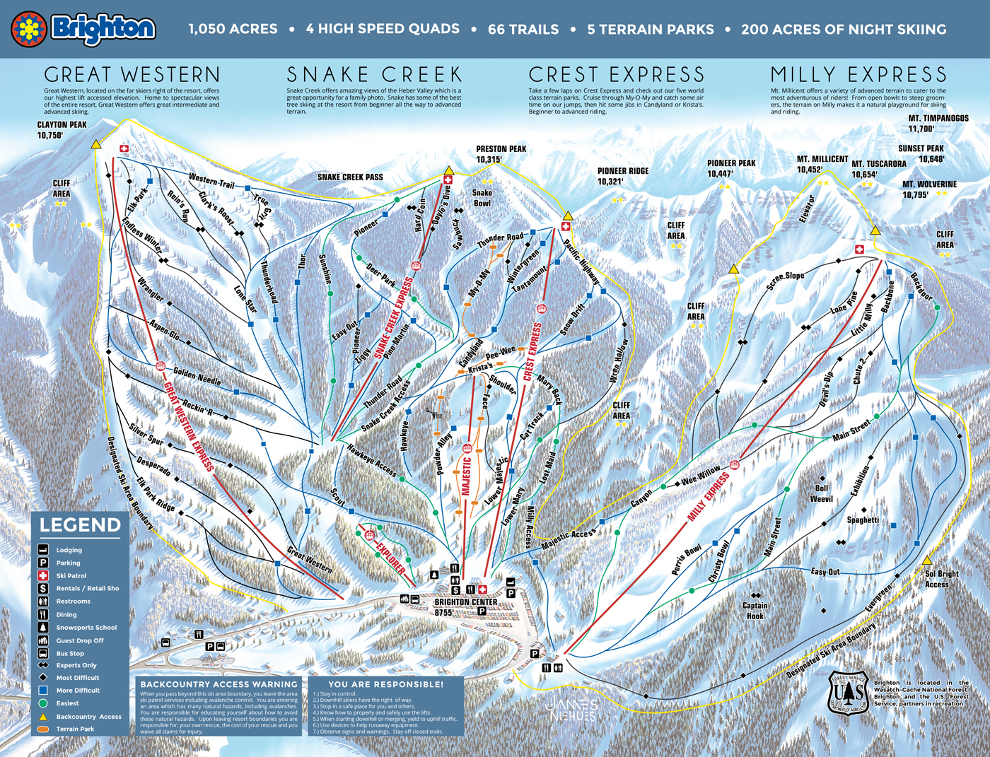 Brighton Resort Trail Map | OnTheSnow on map utah salt lake city skiing, map of utah and surrounding attractions, map of ny ski areas southern, salt lake utah ski resorts, map of lake tahoe ski resorts,