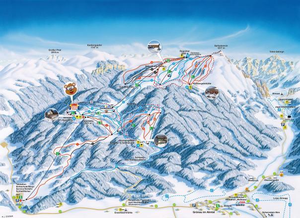 Kasberg - Grünau Plan des pistes