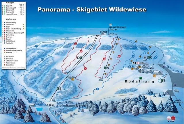 Skigebiet Wildewiese Pistekaart