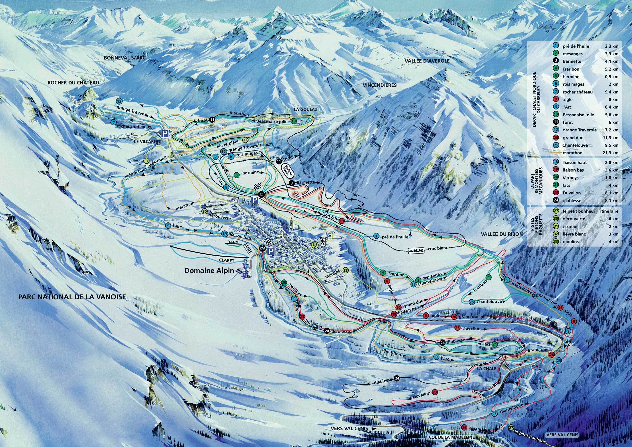Bessans trail map onthesnow for Haute savoie
