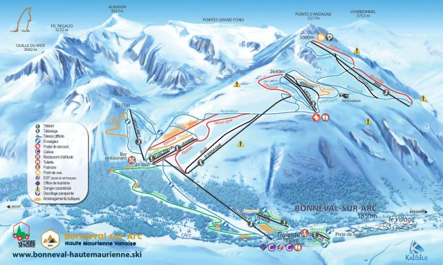 Bonneval sur Arc Piste Map
