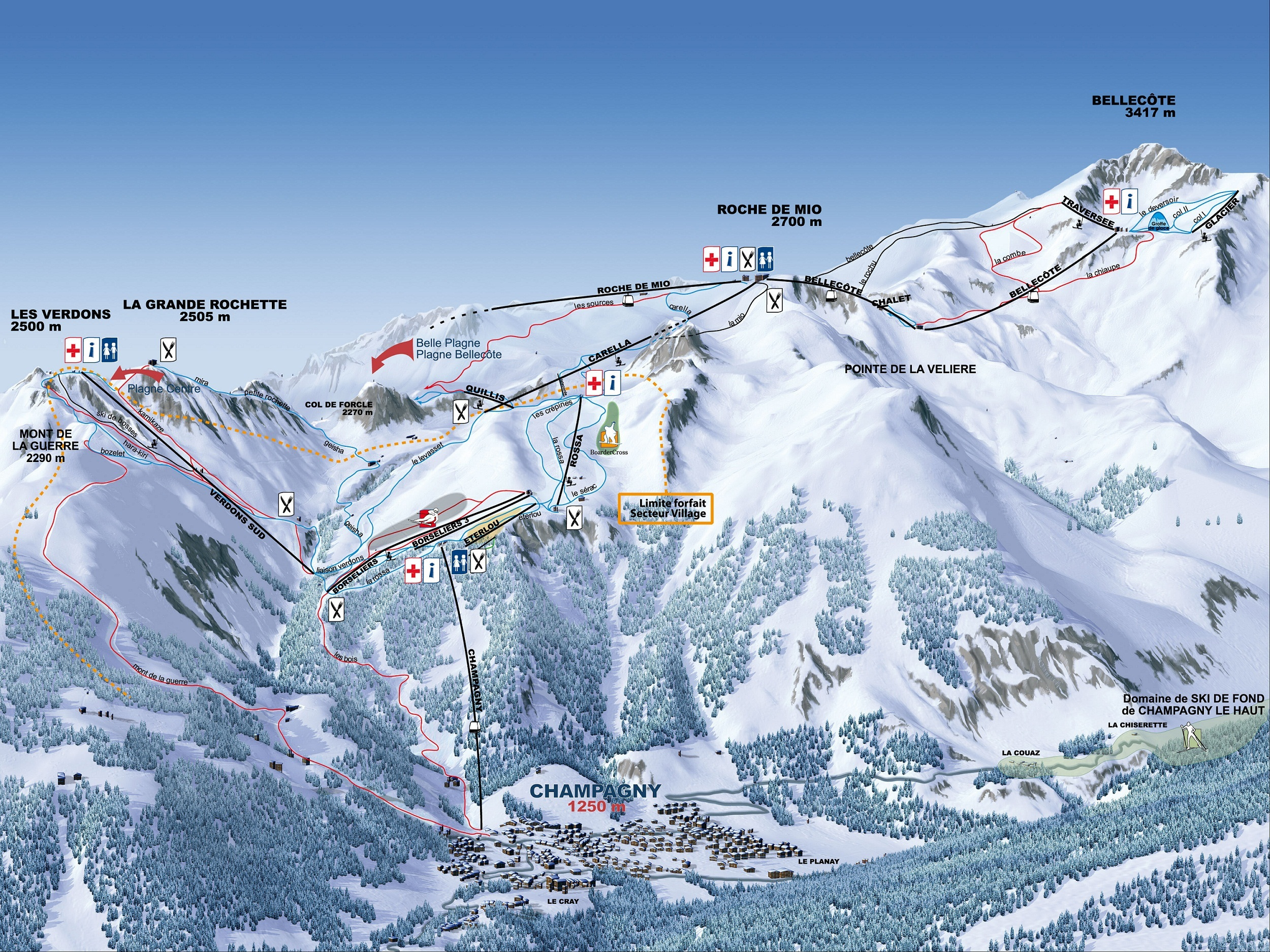 Champagny en Vanoise Piste Map Plan of ski slopes and lifts