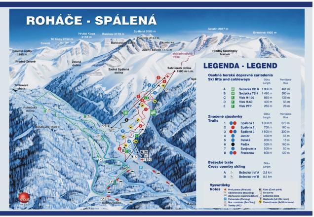 Roháče Spálená Trail Map