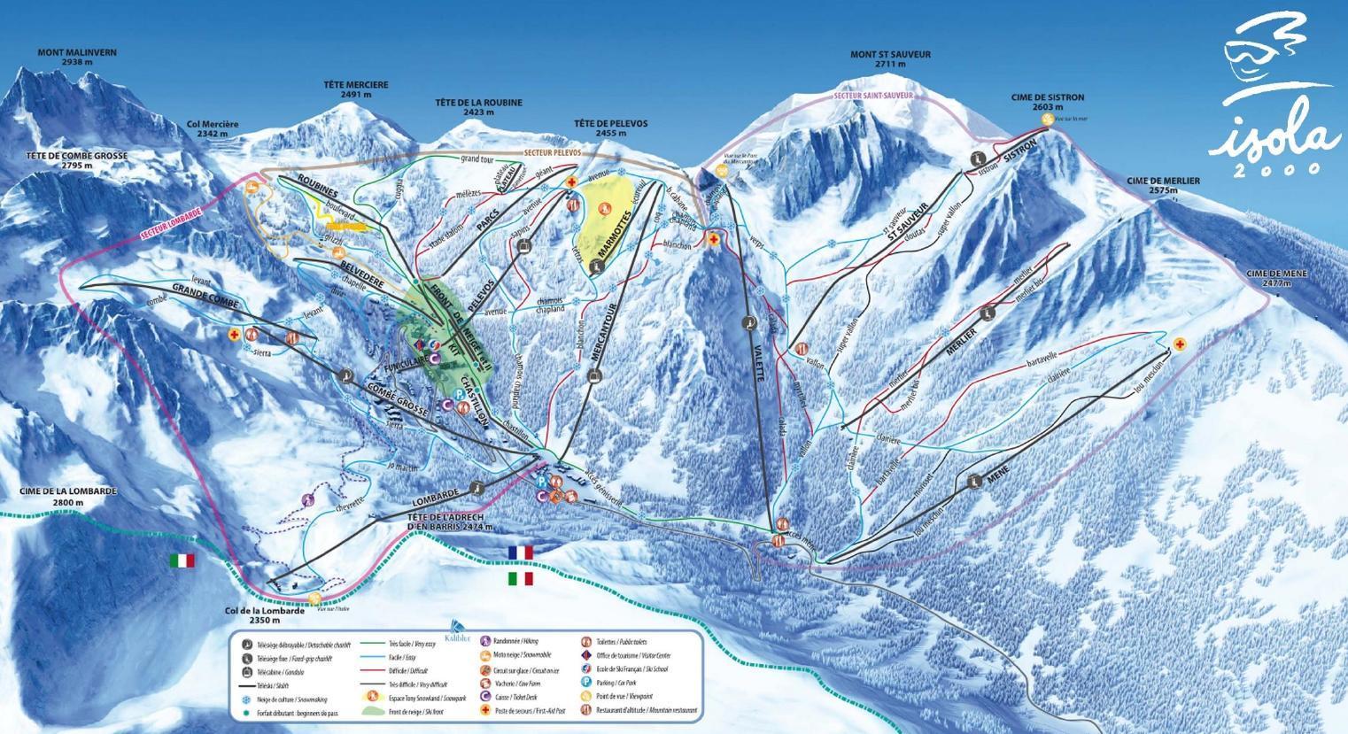 Isola 2000 plan des pistes de ski isola 2000 - Office de tourisme d isola 2000 ...