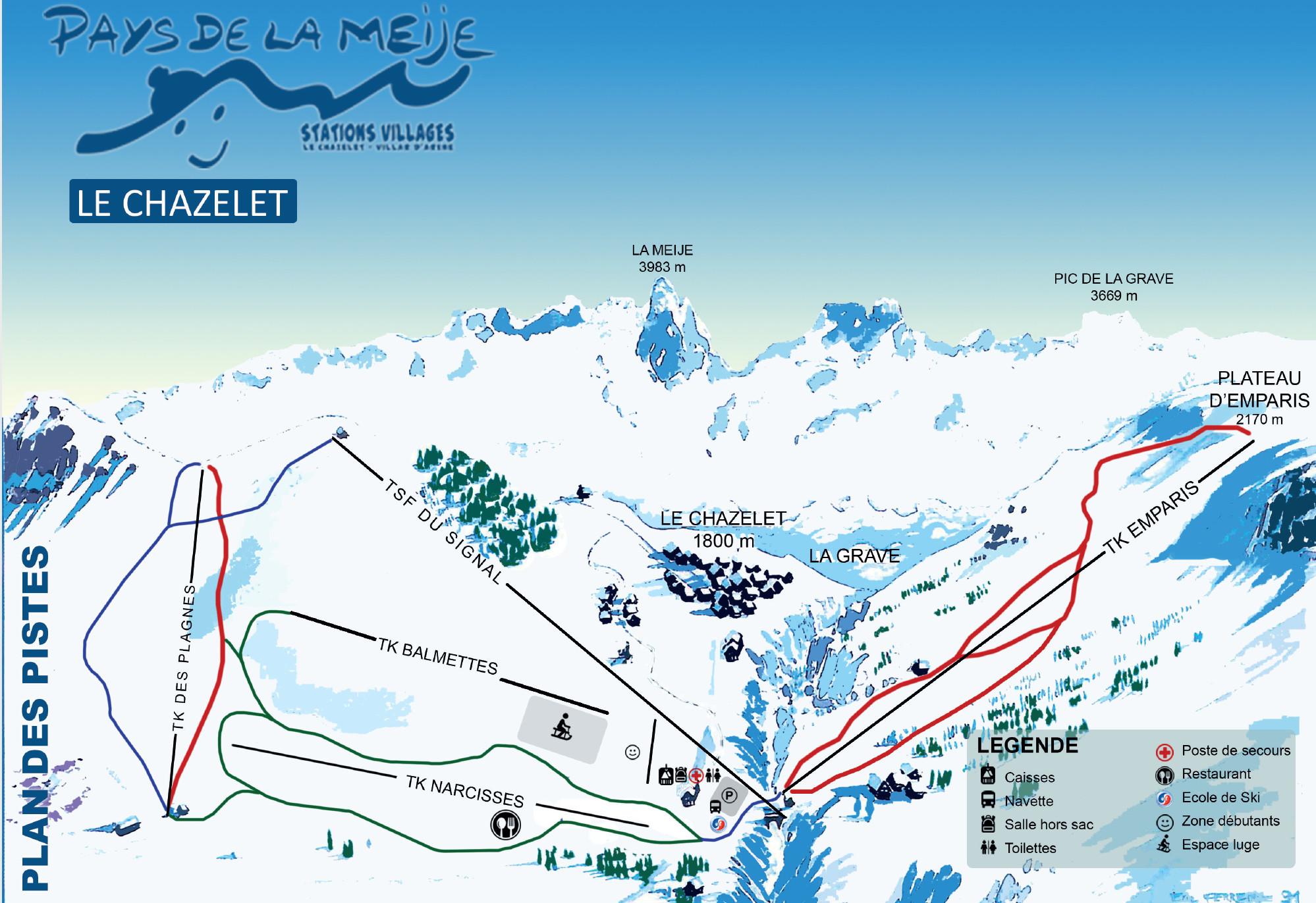 Plan Des Pistes De La Station De Ski Le Chazelet
