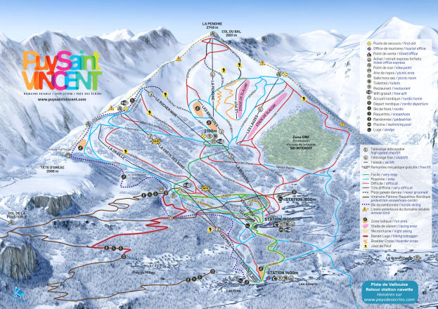 Puy Saint Vincent Piste Map