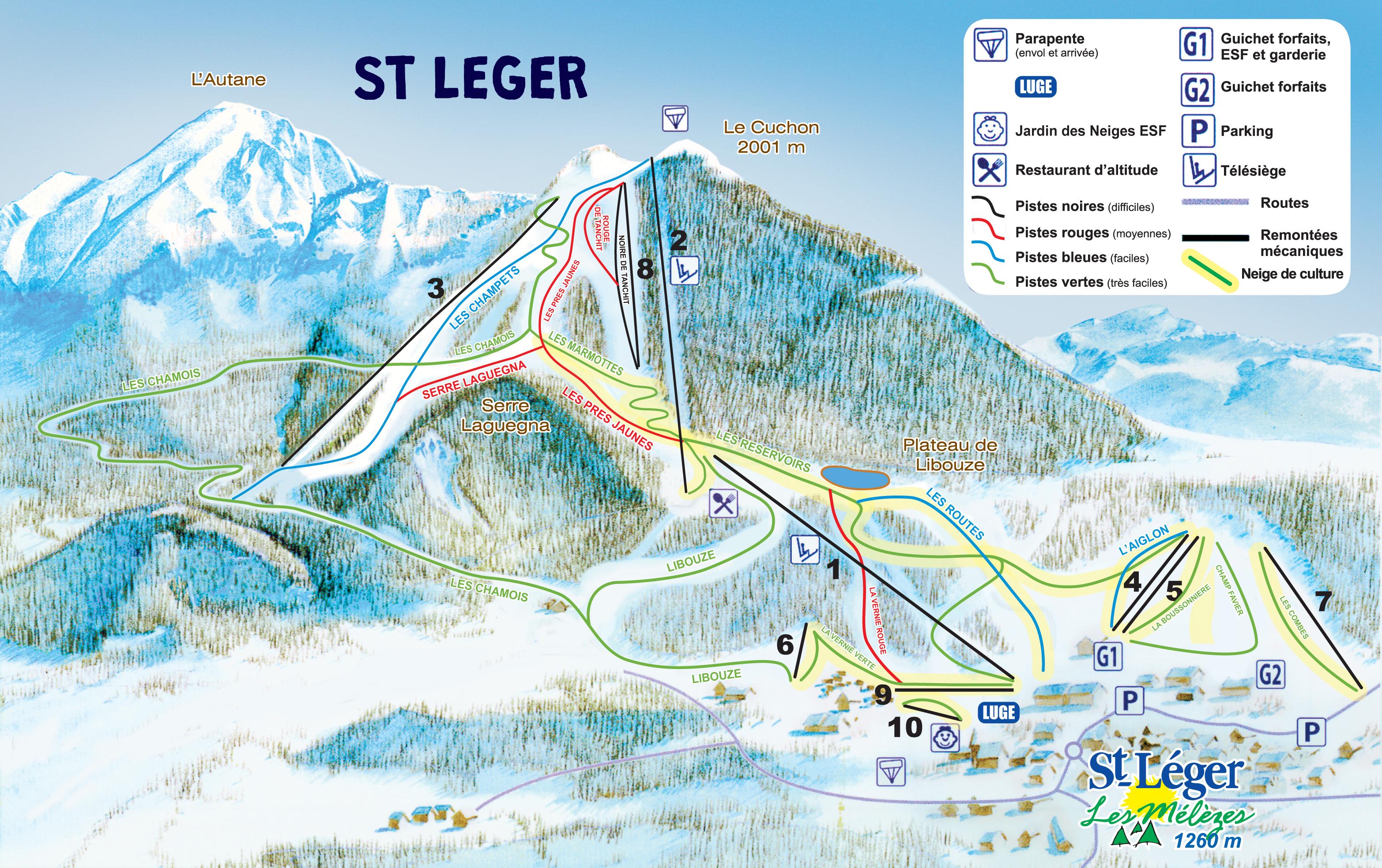 Saint l ger les m l zes plan des pistes de ski saint - Office du tourisme st leger les melezes ...