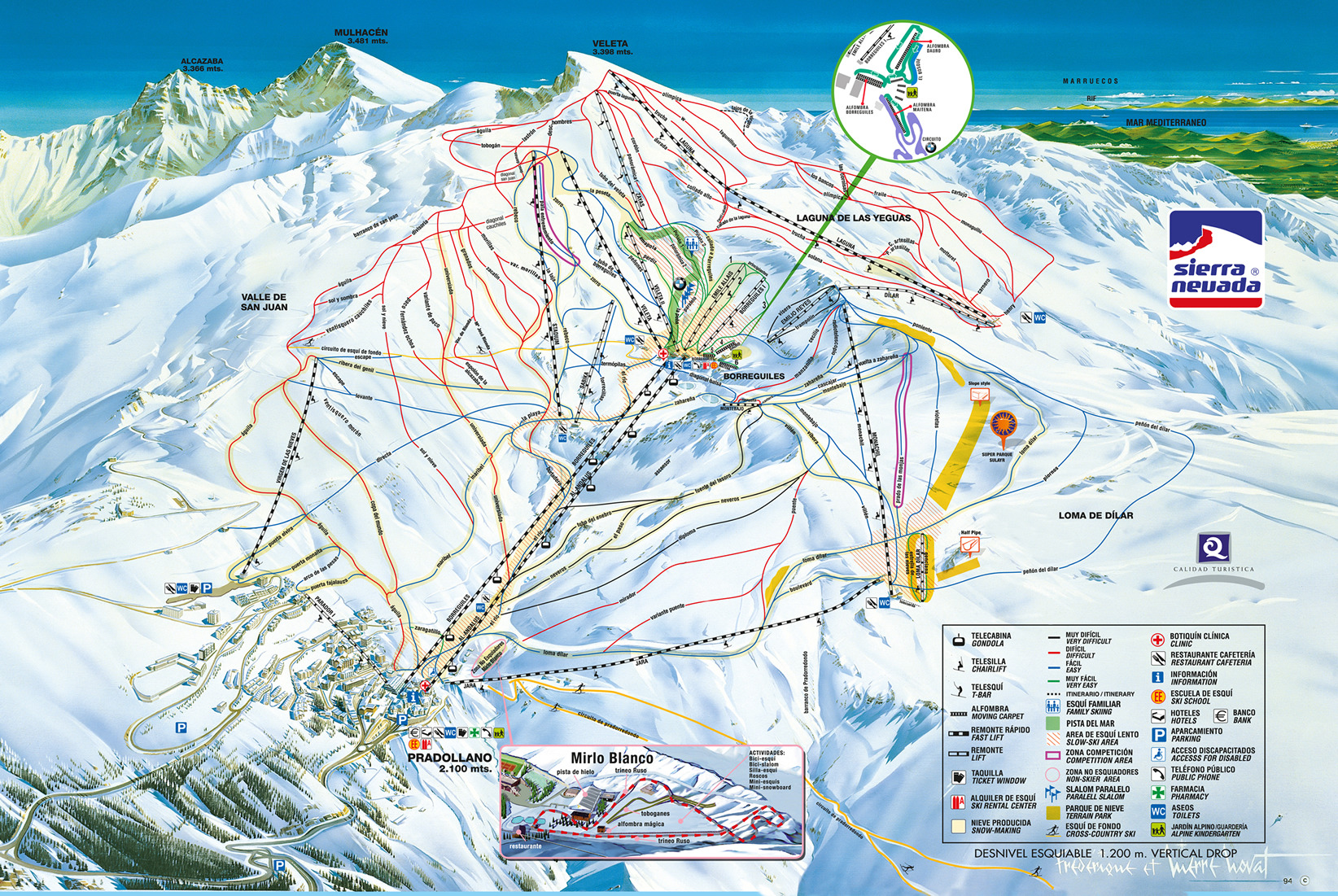 Sierra Nevada Piste Map Sierra Nevada Piste Map | Plan of ski slopes and lifts | OnTheSnow