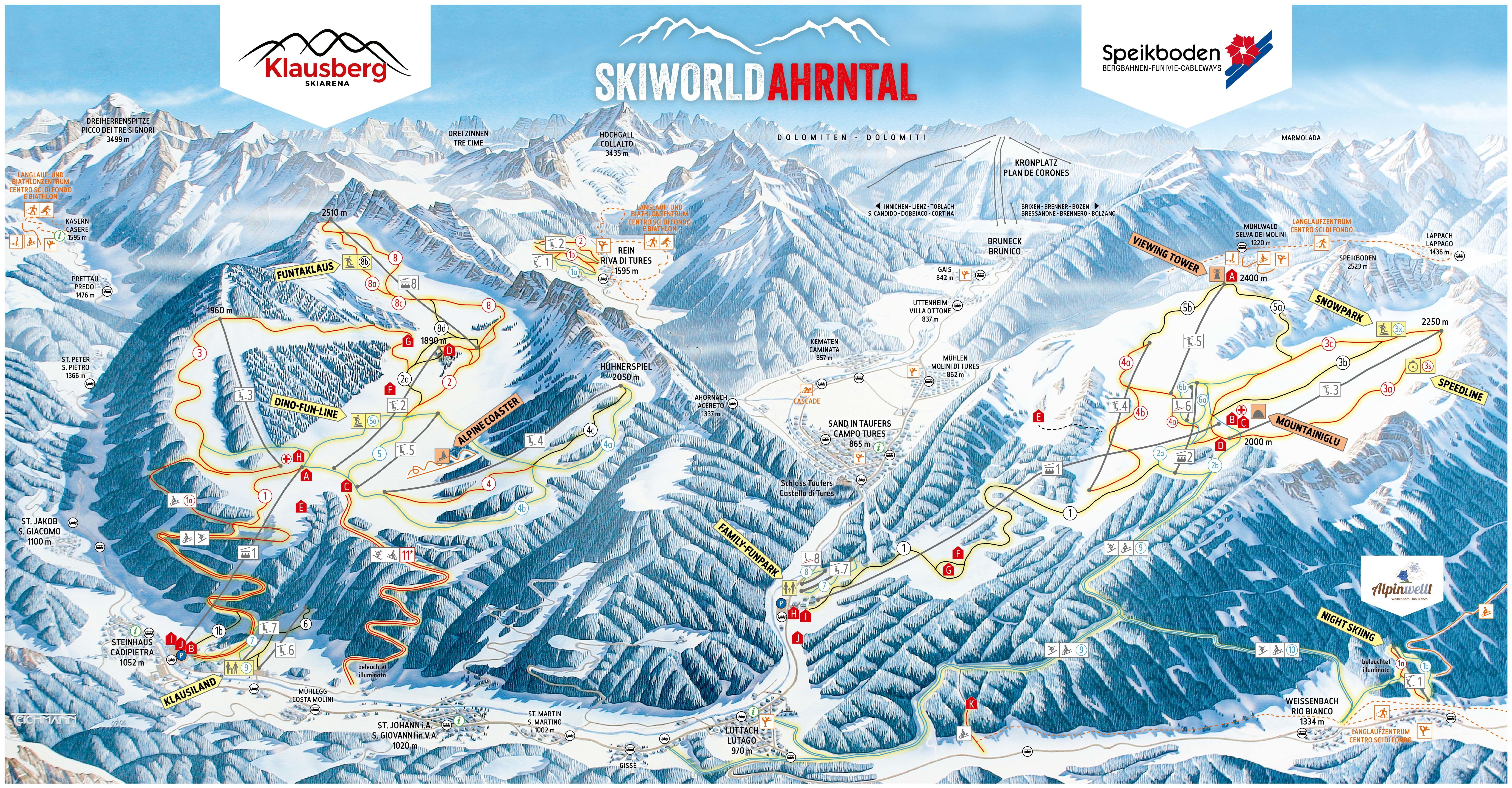 Klausberg Piste Map   Plan of ski slopes and lifts   OnTheSnow