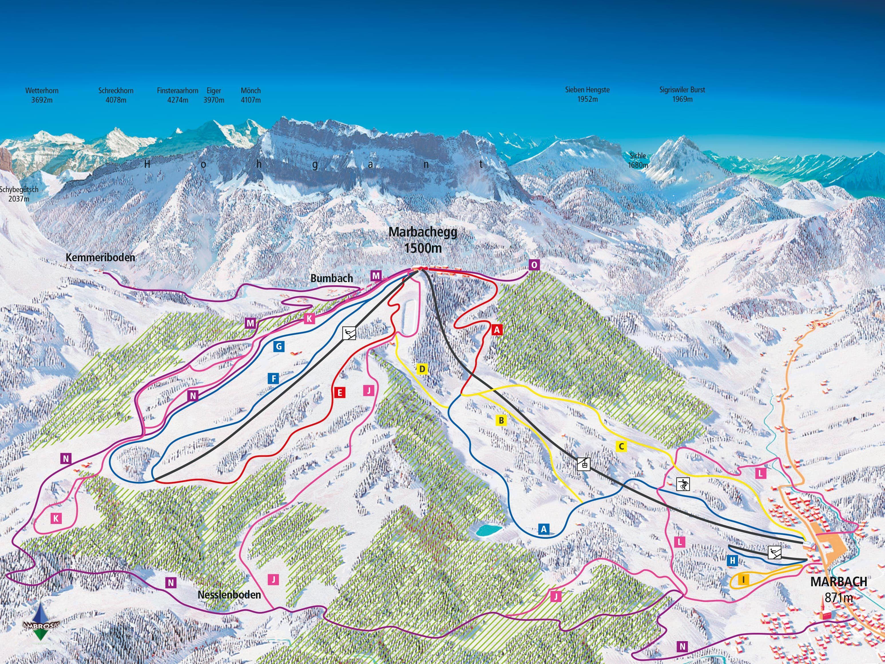 Marbach - Marbachegg Trail Map | OnTheSnow